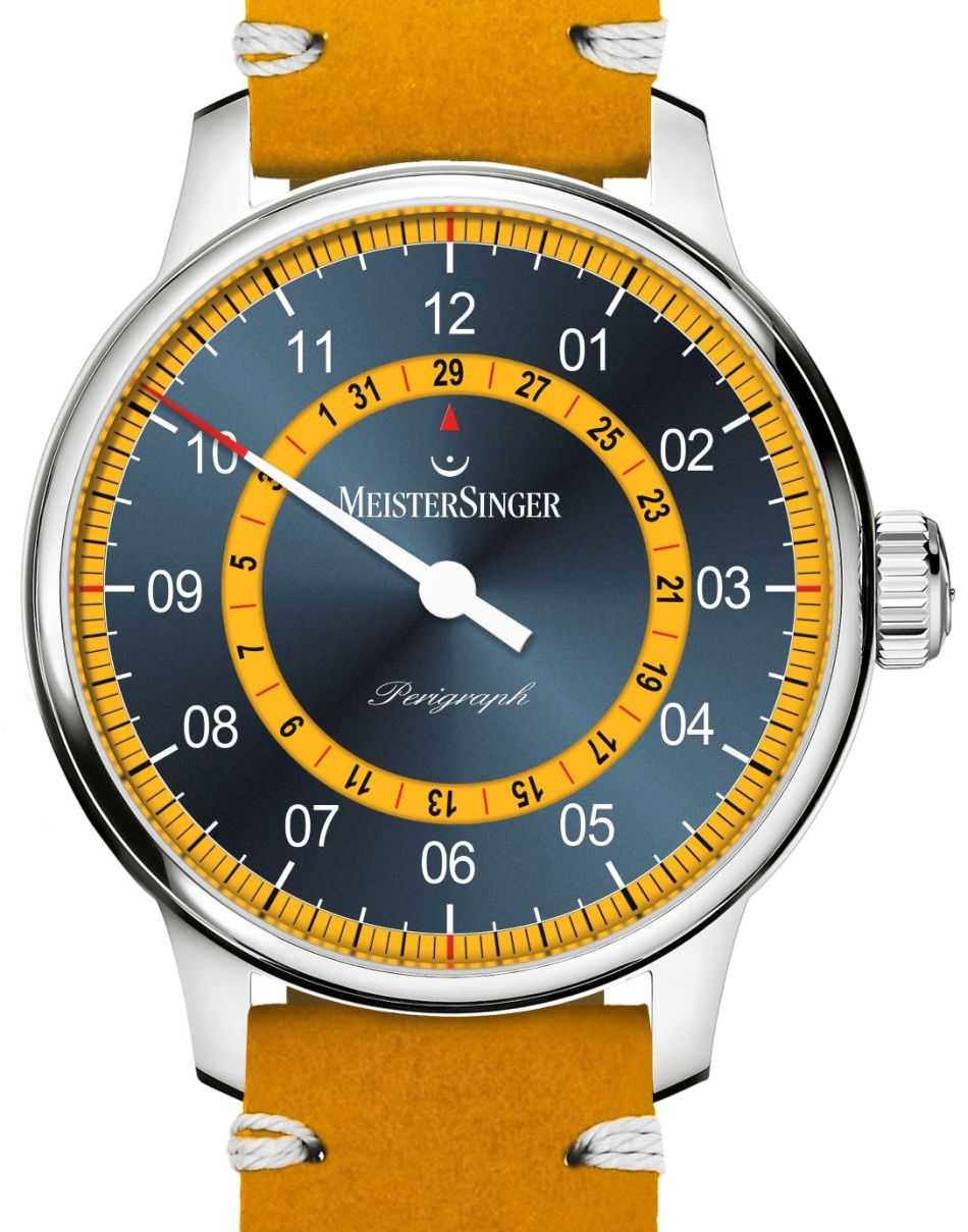 MeisterSinger Perigraph Mellow Yellow : cadran bleu soleillé et jaune soleil