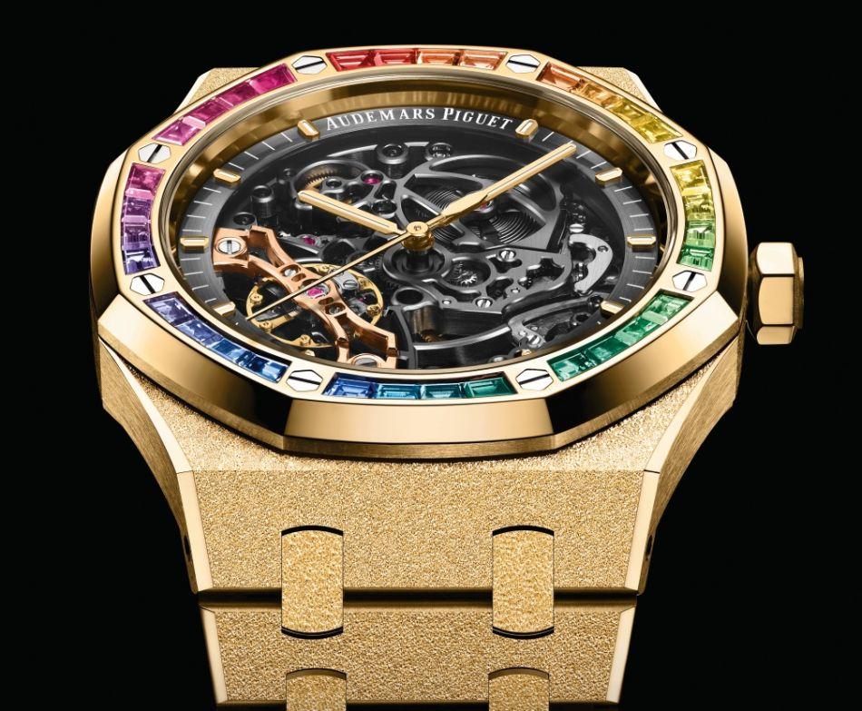 Audemars Piguet Royal Oak double balancier squelette rainbow et frosted gold