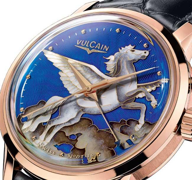 Vulcain 50s Presidents' « Pegasus » émail grand feu : couple de pégases dans le ciel pékinois
