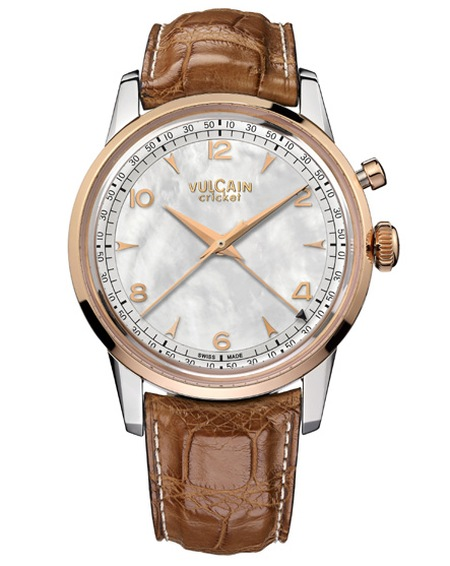 Vulcain for Heiner Lauterbach, montre réveil Cricket manuel, or rose et acier, 42 mm, cadran nacre, index rose (2015)