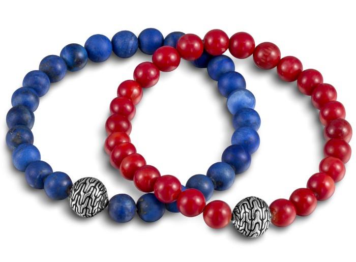 John Hardy : bracelets en lapis lazuli et en corail rouge pour l'été 2015