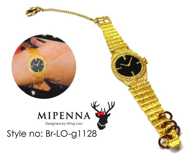 """Novelty Lane Hong Kong : un bracelet en cuir brut et un bracelet tissé """"montre en or"""""""