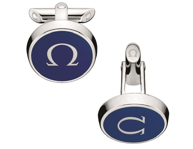 Omega boutons de manchette Symbole en laque bleue marine