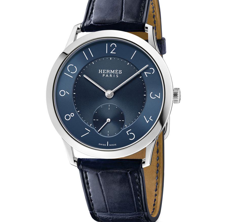 Slim d'Hermès acier cadran bleu nuit