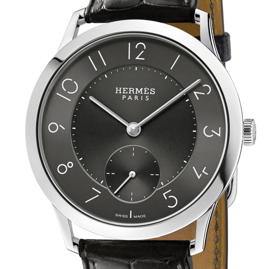 Slim d'Hermès acier cadran ardoise