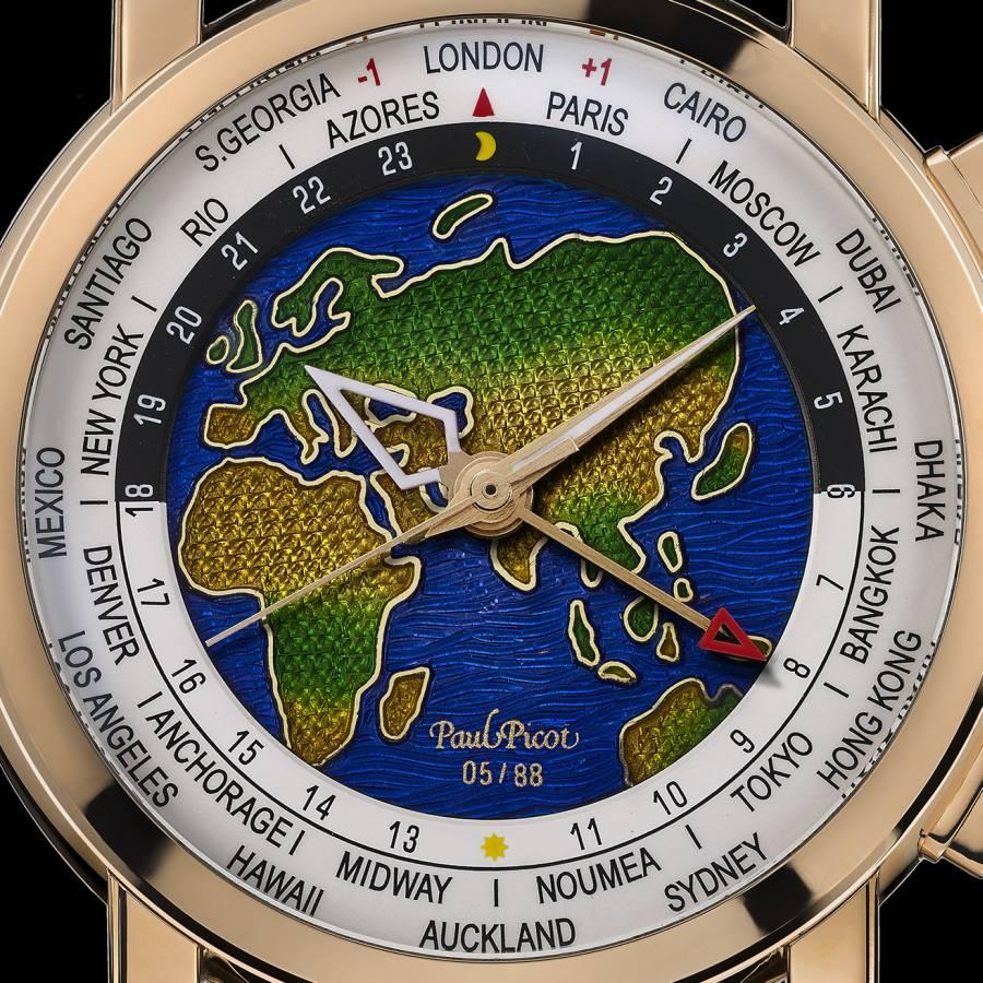"""Paul Picot Megarotor GMT cadran émail """"Grand feu champlevé"""""""