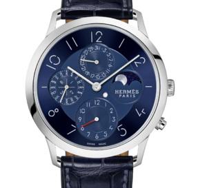 Hermès Slim en platine : l'heure bleu en version QP GMT Phase de Lune
