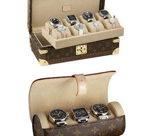 Louis Vuitton : un coffret et un étui à montres en toile monogram