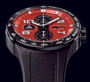 Porsche Design Flat Six P'6340 Chronographe : en rouge et noir