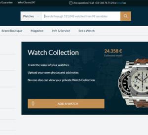 Watch collection : l'outil qui calcule la valeur de votre collection horlogère sur Chrono24