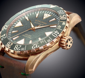 Eterna KonTiki Bronze cadran vert : splendide plongeuse