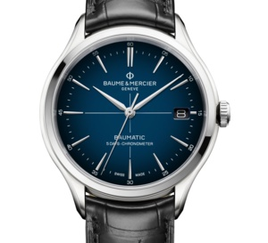 Baume et Mercier Clifton Baumatic : belle version cadran fumé bleu