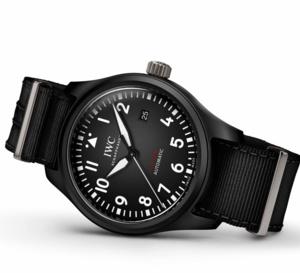 IWC Montre d'Aviateur Automatic TOP GUN : céramique noire et bracelet textile