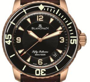 Fifty Fathoms Blancpain : un modèle au boitier or rouge satiné