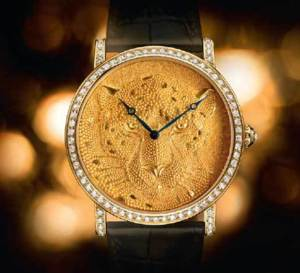 Cartier d'Art : Rotonde 42 mm Panthère en granulation, semis de grains d'or