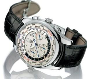 WWTC-Financial de Girard-Perregaux : un chrono qui indique les heures d'ouverture des places boursières