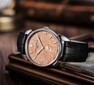 Cuervo y Sobrinos Historiador Flameante : belle montre de ville ultraplate avec cadran saumon