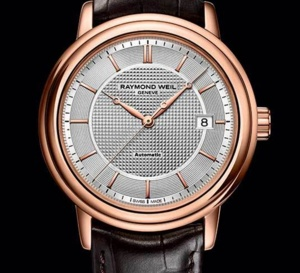 Raymond Weil Maestro trois aiguilles PVD or rose