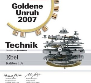 Ebel reçoit le Prix spécial « Technique » de Uhren Magazin pour son Calibre 137