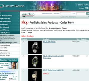 Des Rolex vintage en vente en duty free sur les vols de la Cathay Pacific