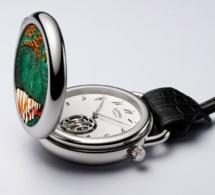 Hermès : une Arceau montre de poche à l'effigie du T-Rex en marqueterie de cuir